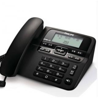 飞利浦CORD118 免电池 来电显示电话机/家用座机/办公座机 大铃声音量 免提通话 黑色